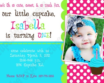 DIY Cupcake 2 Birthday Party  PRINTABLE Invitation 5x7 4x6 pink green aqua GIRL first 1st