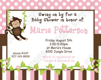 DIY Monkey Baby Girl  baby Shower PRINTABLE Invitation 5x7 4x6 pink  brown white green Need them PRINTED just ask...