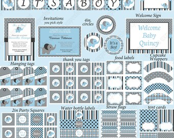 Baby Boy Elephant Baby Shower PRINTABLE Party Package Cupcake toppers banner invitation gray blue Shower Deluxe Collection  - 1040