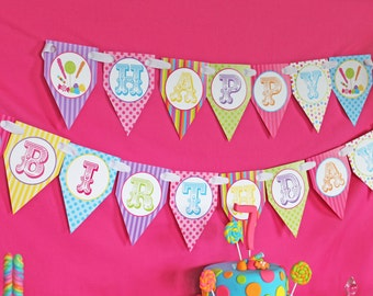 CANDY Shoppe Birthday Party Printable pendant Banner purple lime green hot pink blue yellow INSTANT DOWNLOAD