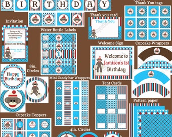 DIY Sock Monkey Blue Deluxe  Birthday Party  PRINTABLE Part Package Blue Red brown
