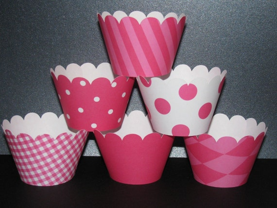 hot pink white  Cupcake Wrappers  basic collection holder wrap stripes polka dots