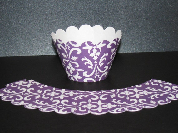 Standard  Purple white Damask Cupcake Wrappers holders wraps