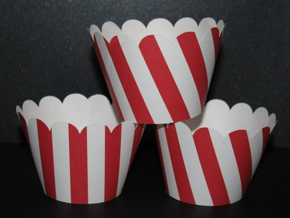 Red white Standard Cupcake Wrappers holder dr seuss circus