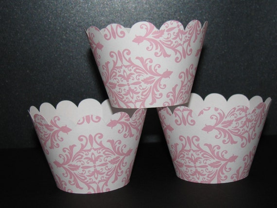lt. Pink white Damask Cupcake Wrappers holder wrap scalloped standard
