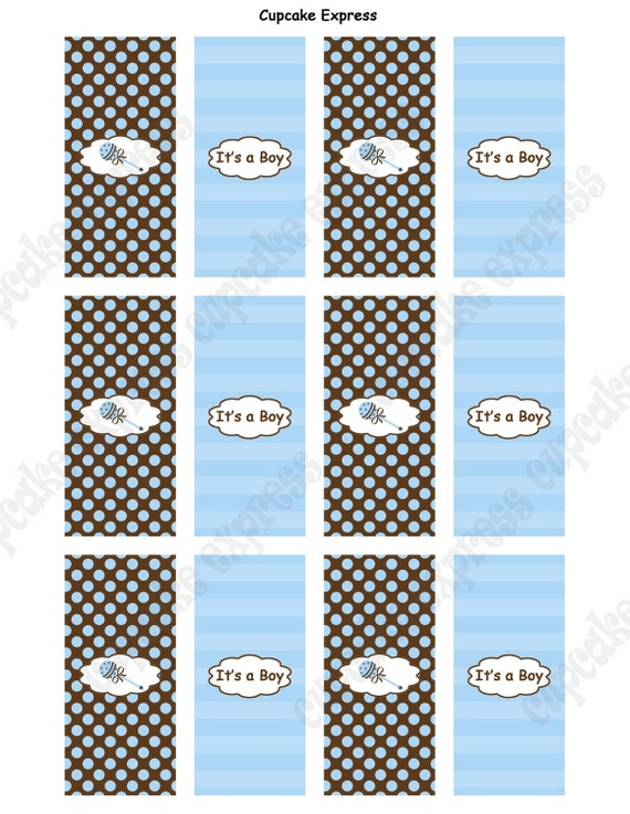 DIY Boy Baby Shower Printable Party Mini Candy Bar Wrappers blue brown