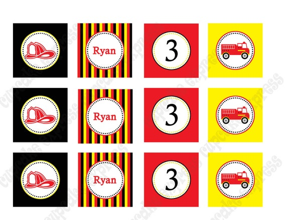 DIY Fireman Birthday Collection Printable party circles 2in Cupcake Toppers firetruck red black yellow