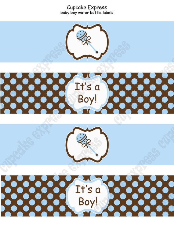 DIY Baby Boy Collection PRINTABLE Water Bottle Labels  blue brown