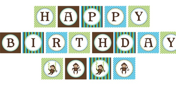 INSTANT DOWNLOAD diy Monkey Birthday Party  PRINTABLE Banner Sign blue green brown boy