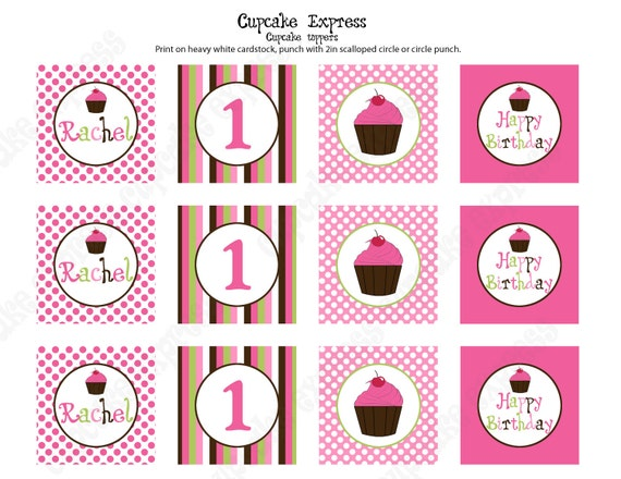 Items Similar To Diy Cupcake Birthday Party Printable