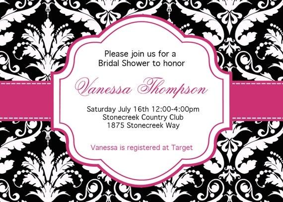 DIY Black and white damask hot pink Bridal Shower  PRINTABLE Invitation 5x7 Pink black