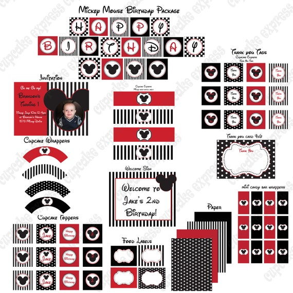items similar to diy mickey mouse deluxe birthday party printable part package red black sign. Black Bedroom Furniture Sets. Home Design Ideas