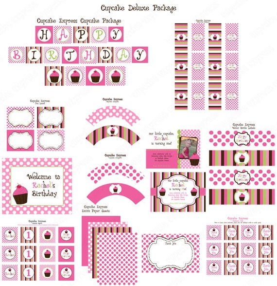 Cupcake Deluxe  Birthday Party  PRINTABLE Part Package pink brown sign invitation cupcake toppers....