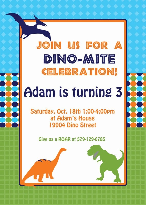 SALE   PRINTED Dinosaur Birthday Party  Invitation 5x7  green blue orange  20 with envelopes