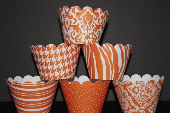 Orange white Standard Cupcake Wrappers Classic Collection wedding damask zebra striped polka dots....