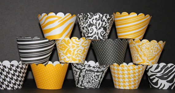 Custom order for Tera Marburgh yellow  Black Standard Cupcake Wrappers Classic Collection wedding damask polka dots Bumble Bee Mixs