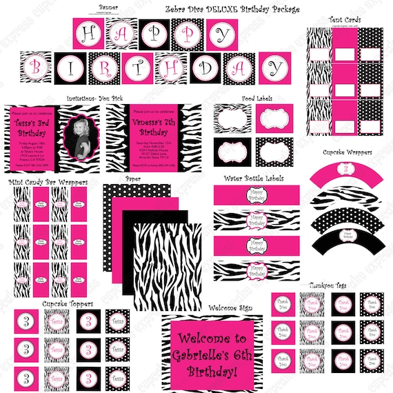 Items Similar To Diva Zebra Deluxe Birthday Collection