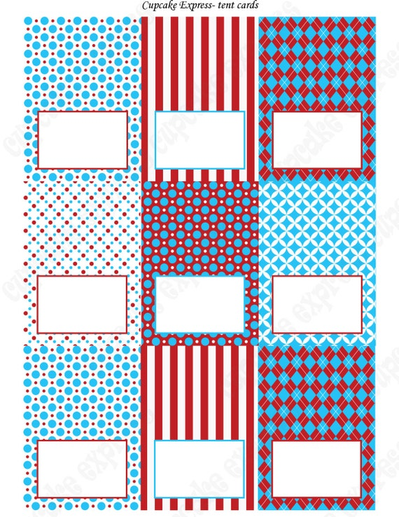 dr seuss inspired food labels tent cards printable red blue white