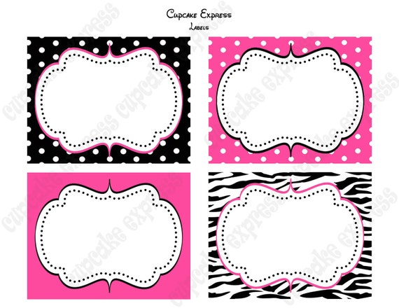 INSTANT DOWNLOAD  diy Zebra Minnie Mouse  Birthday Party  PRINTABLE Labels Food favor tags Pink black