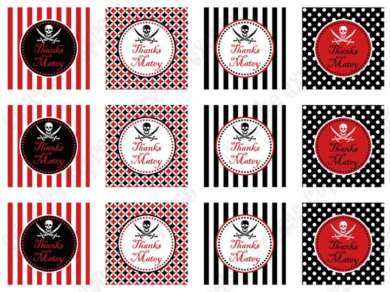 PIRATE Thank you tags Birthday Party  Printable Thank You Tags red black favor bag INSTANT DOWNLOAD diy