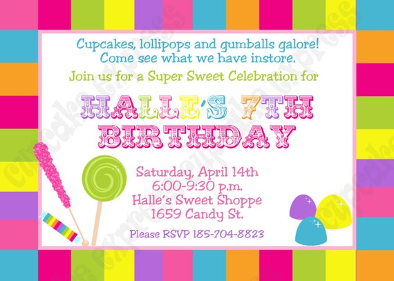 DIY Candy Shoppe Birthday Party  PRINTABLE Invitation 5x7 4x6 pink green yellow blue lollipops gumdroops
