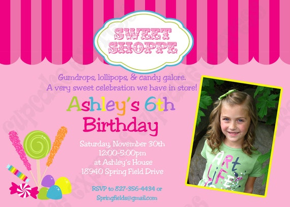 DIY Candy Shoppe Photo Birthday Party  PRINTABLE Invitation 5x7 4x6 pink green yellow blue lollipops gumdrops
