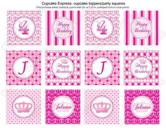 DIY  Preppy Couture  Printable Party Circles 2in Cupcake Toppers  damask polka dots stripes  Hot pink lt pink