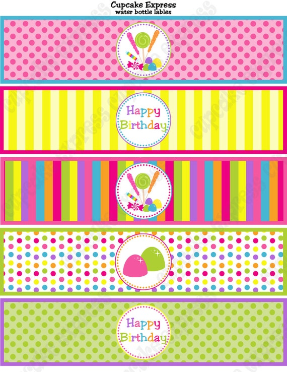 Candy Shoppe Birthday Party PRINTABLE Water Bottle Labels