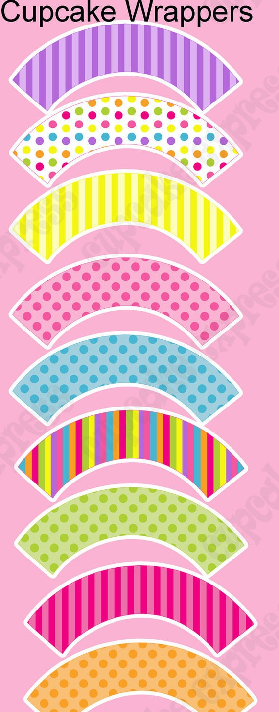 INSTANT DOWNLOAD diy Candy Shoppe  Birthday Party  PRINTABLE Cupcake Wrappers pink green yellow blue