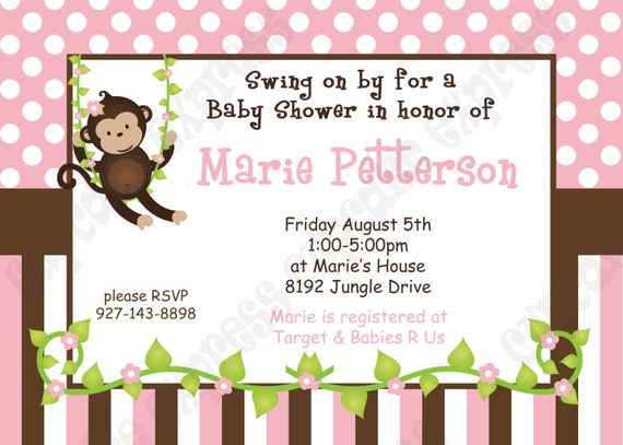diy monkey baby girl baby shower printable invitation 5x7 4x6, Baby shower invitations