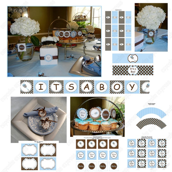 DIY Baby Boy Collection PRINTABLE  It's A Boy  rattle blue brown cupcake toppers labels...