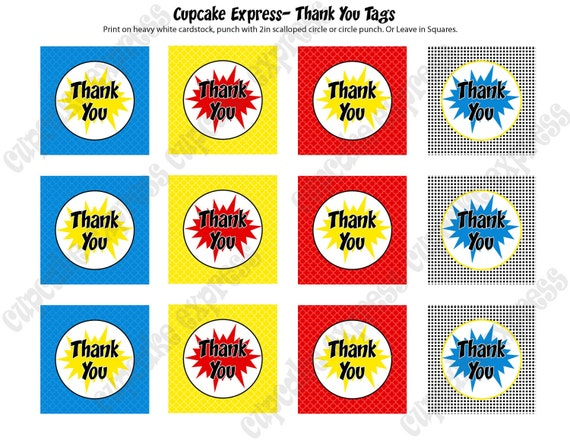 INSTANT DOWNLOAD diy Super Hero Birthday Printable Party Thank You tags blue red yellow city towers- Cupcake Express