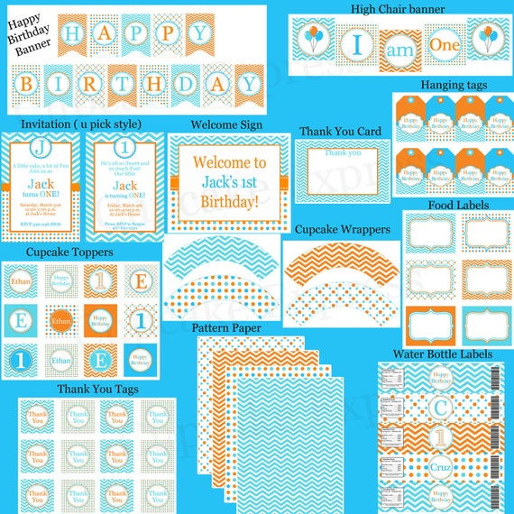 custom order for thepinkpoppyseed DIY  Deluxe Orange & Aqua Blue Birthday Party  PRINTABLE Part Package cupcake toppers Chevron polka dots