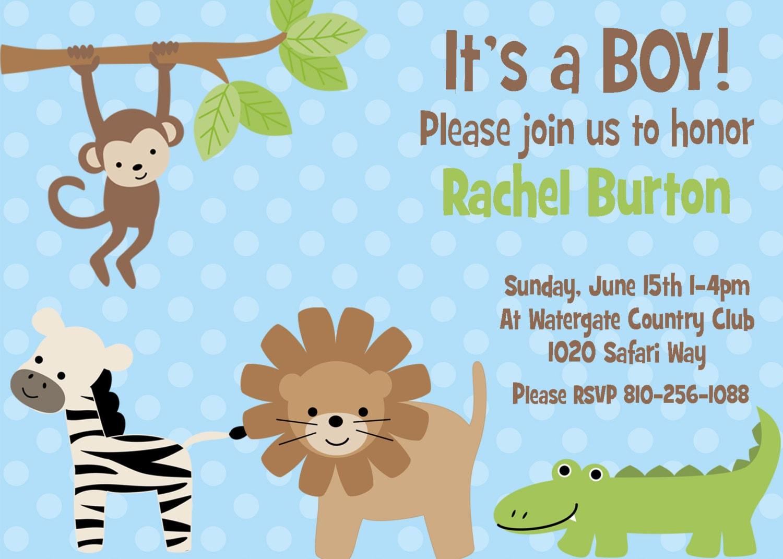 28 Blank Safari Baby Shower Invitations Blue Safari Baby Sh. Safari ...