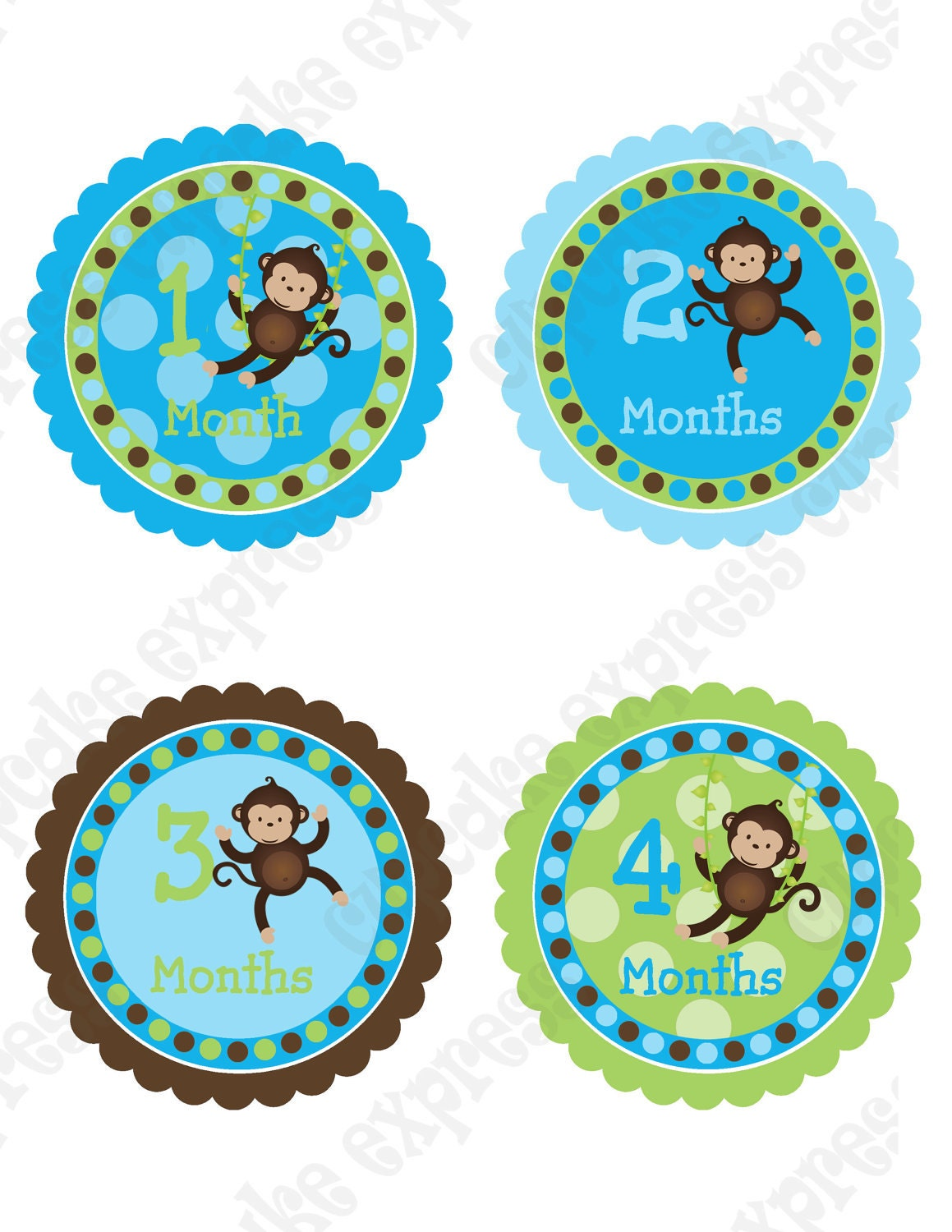 Monkey Boy Monthly Onesie Baby PRINTABLE Stickers 1 month 12