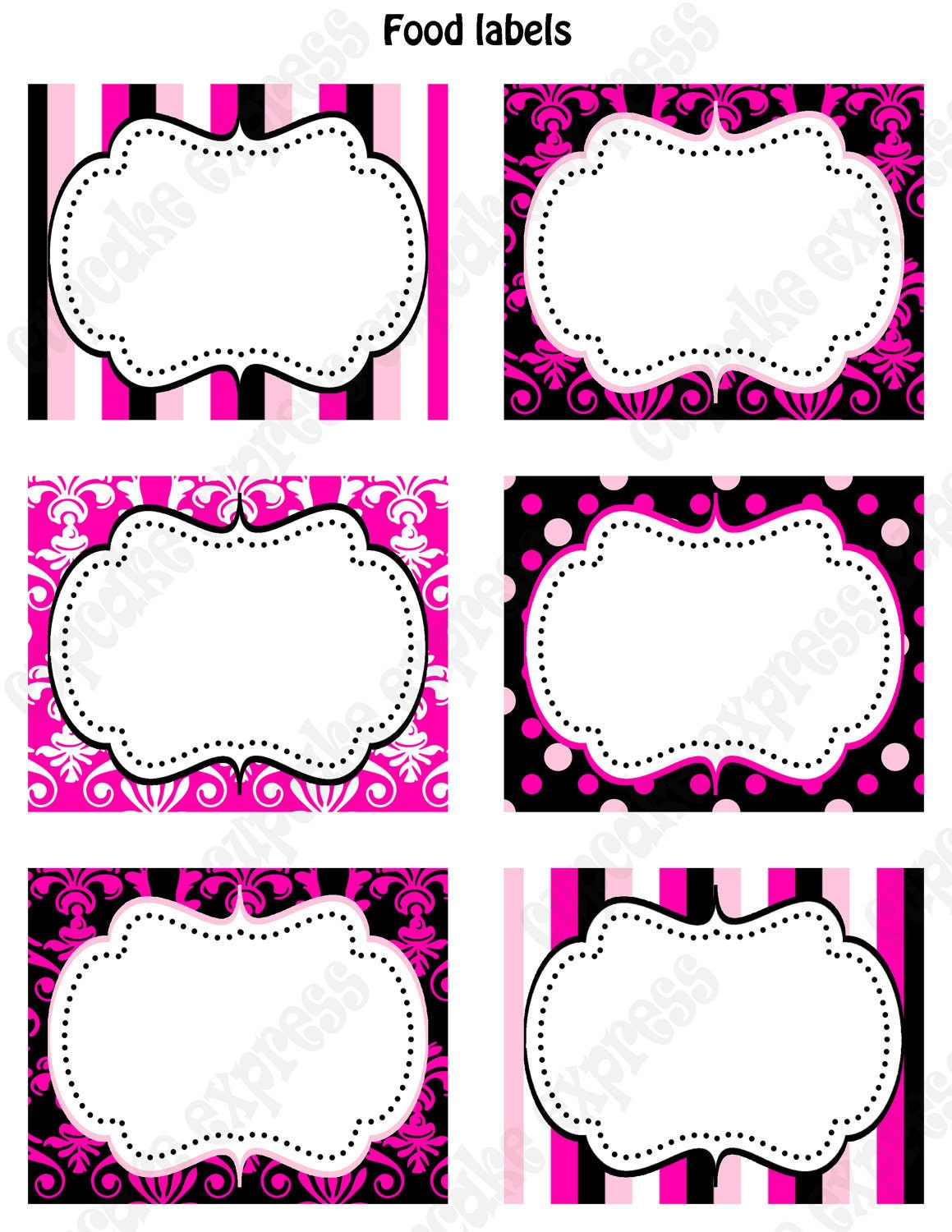 Free Printable Food Label Black and Pink