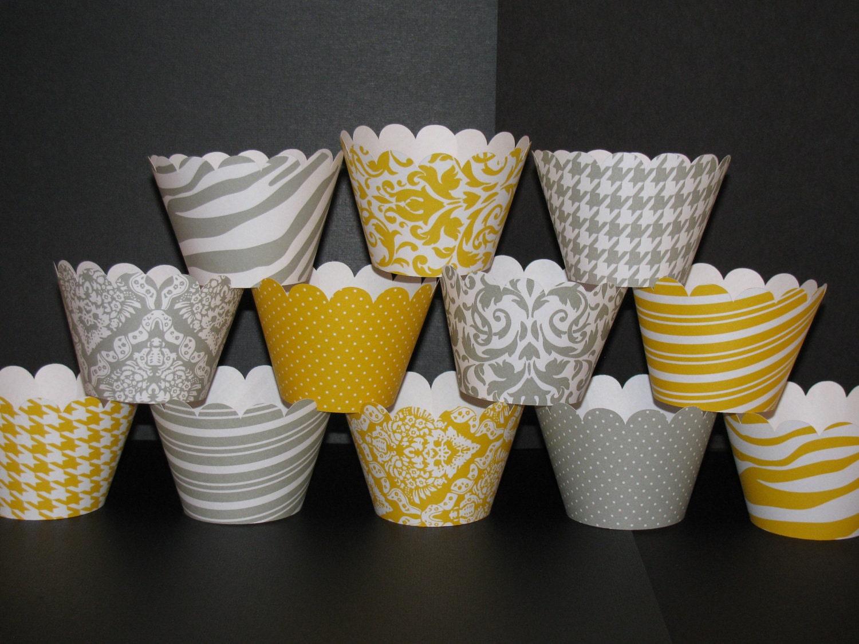 Custom Listing For Julie Lacap Yellow Grey Standard Cupcake