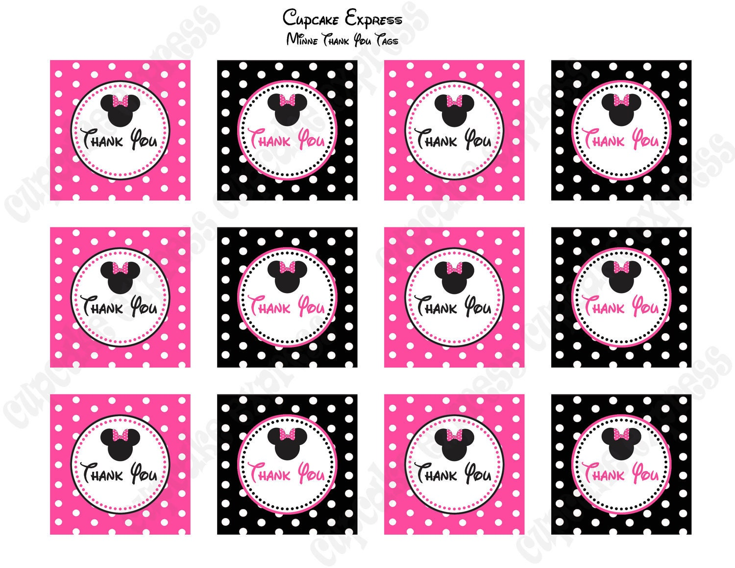 Diy Minnie Mouse Birthday Party Printable Thank You Tags Pink