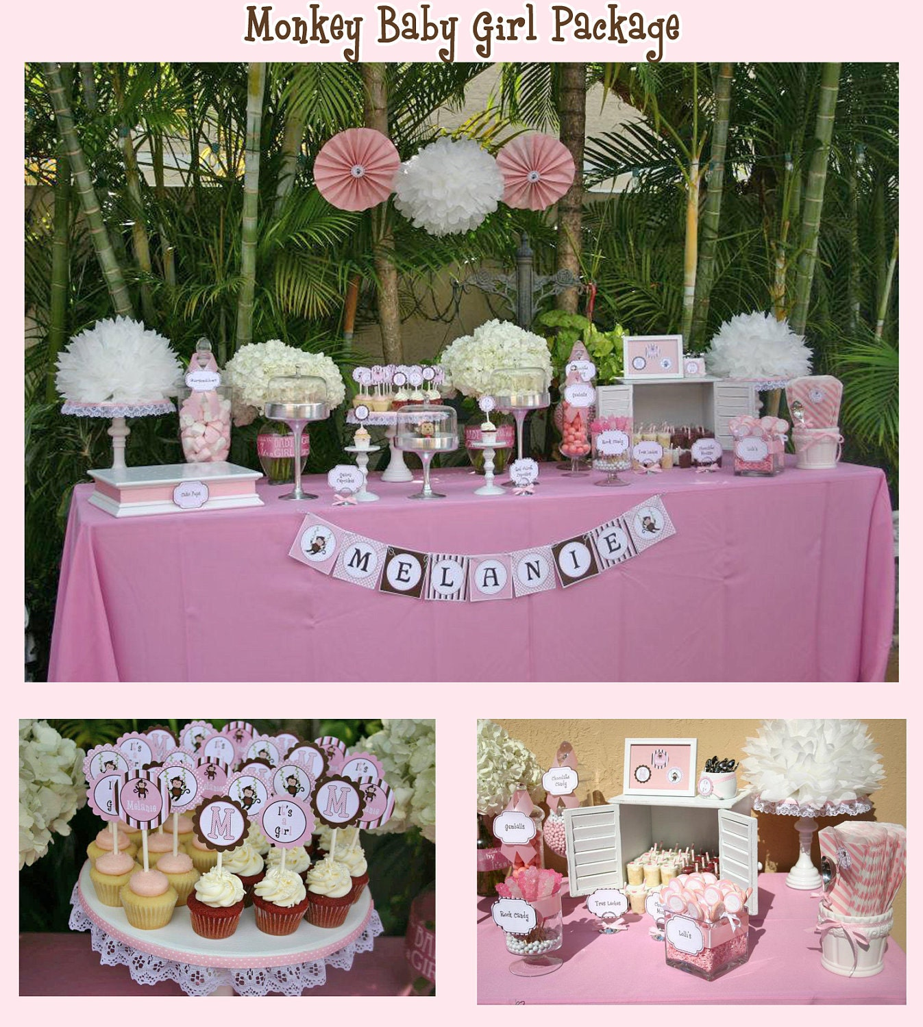 Diy monkey baby girl deluxe collection printable party package for Monkey bathroom ideas