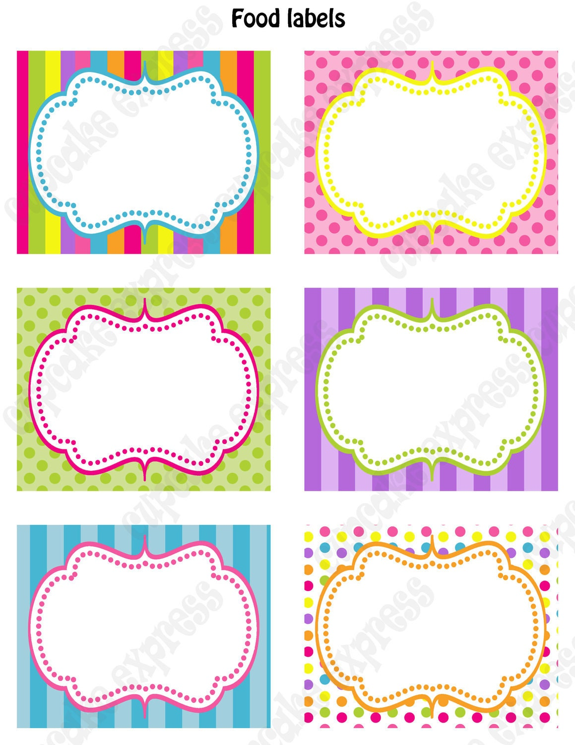 8 up label template - candy shoppe birthday party printable food labels pink green