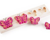 Butterfly-liners, wooden puzzle toy for toddlers. Pink butterfly.