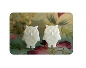Cute as a Button -White  Owl Post Earrings