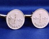 FINLAND 1 Markka Coin Vintage 1962 CUFFLINKS Hand Made