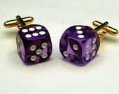 Purple Dice Cufflinks 6-sided Las Vegas Lucky 7