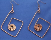 Circle in a Square Hammered Copper Earrings
