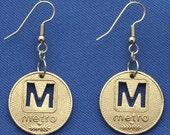 Washington DC Metro 1973 Subway Token Earrings