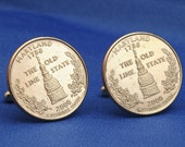Maryland Old Line State 2000 Quarter 25c USA Coin - New Cufflinks