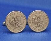 Poland Eagle 20 Groszy Coin Cufflinks - Polska Coat of Arms