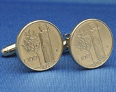 Olive Tree ITALY Vintage 100 Lire Small Coin Cufflinks