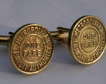 Boston T MTA Vintage Subway Token Cufflinks